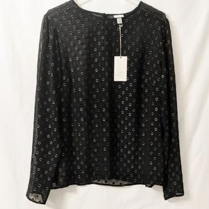 A New Day Sheer shirt with gold circles Sz XXL NWT
